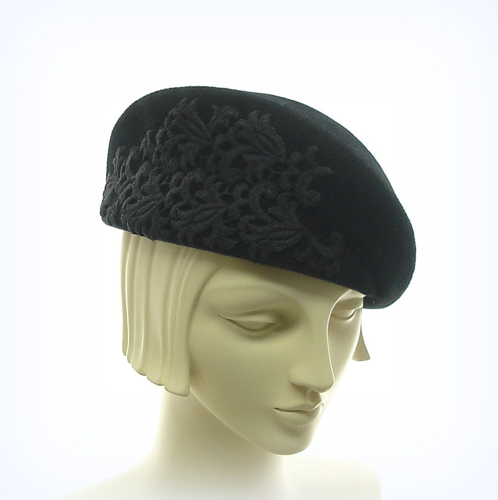 black beret hat for vintage style fur by