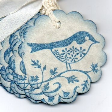 Little Blue Bird On A Branch Gift Tags Hang Tags Labels Vintage Shabby Chic
