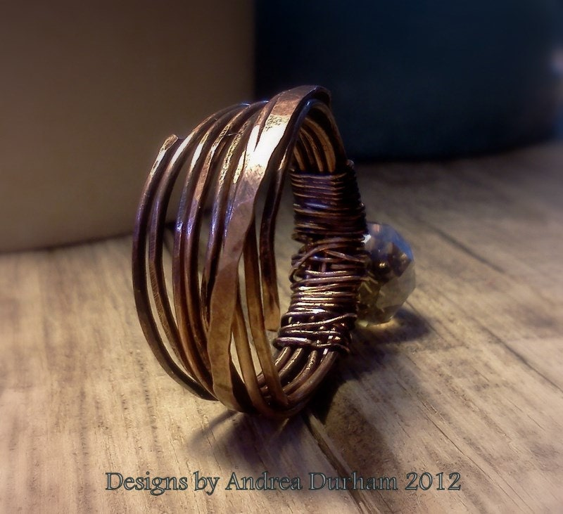 Copper Wire  Ring Wrapped Band style, Champagne Aurora Borelias Stone Bohemian Inspired - AndreaDurhamDesigns