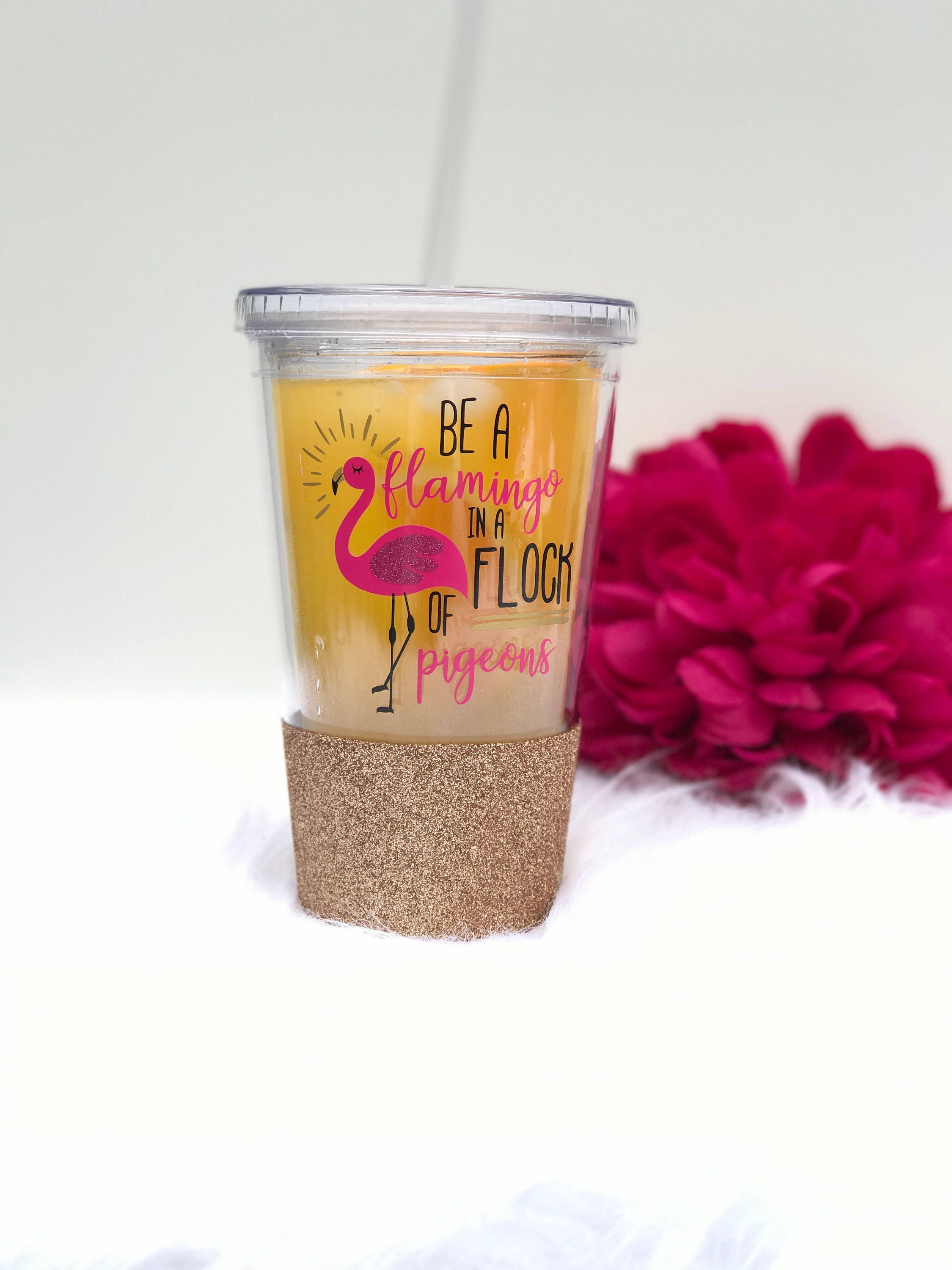 Flamingo Tumber  Be a flamingo in a flock of pigeons  Glitter tumbler  Personalised tumbler  Tumbler with straw