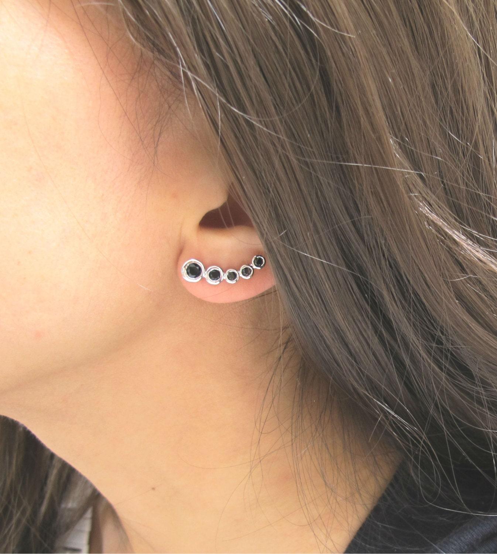 Black Stone Ear Crawlers Delicate Earrings Wedding Earrings Ear