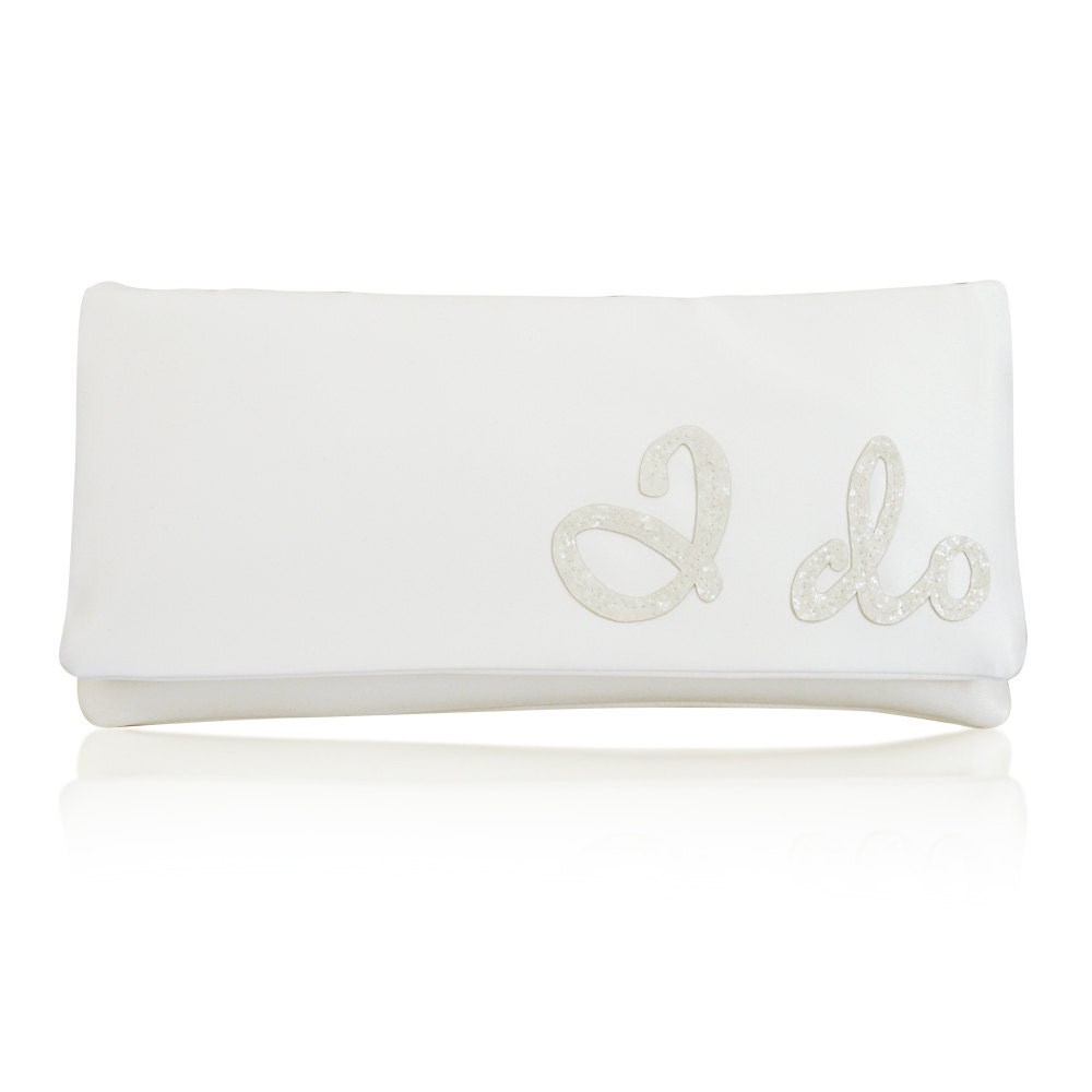 I DO wedding day bridal clutch purse