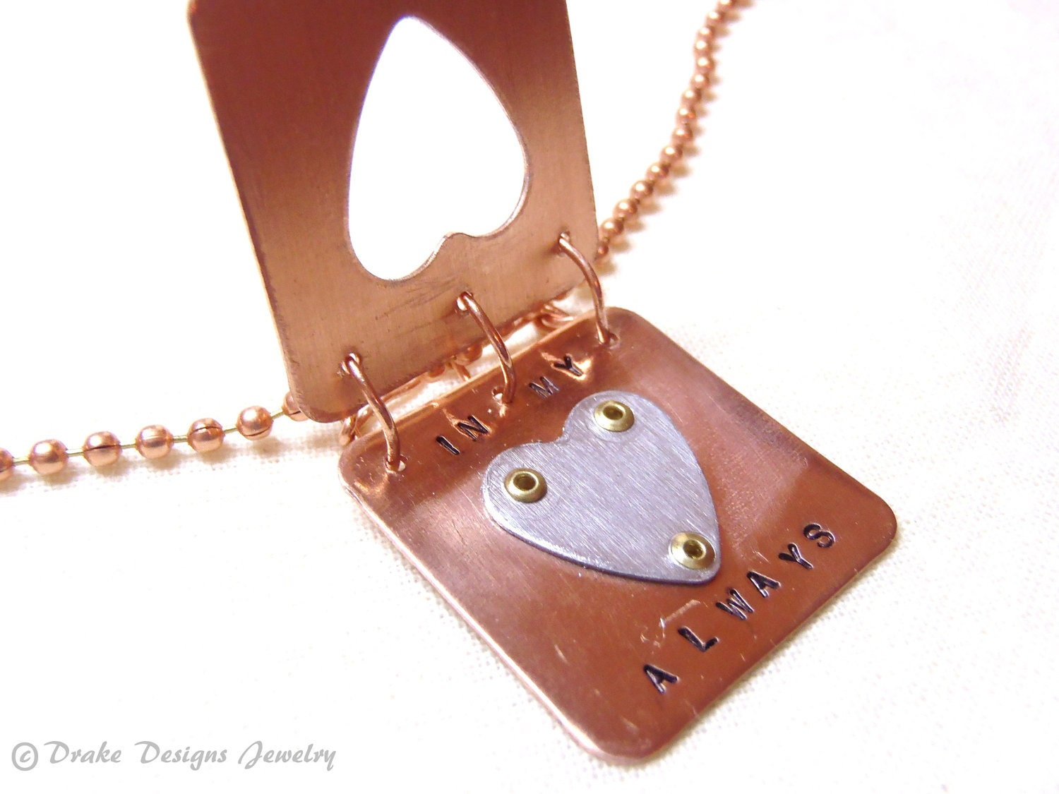 Hidden Message... Always in My Heart ... Solid Copper & Aluminum Book of Love Pendant on Solid Copper Ball Chain - drakedesignsjewelry