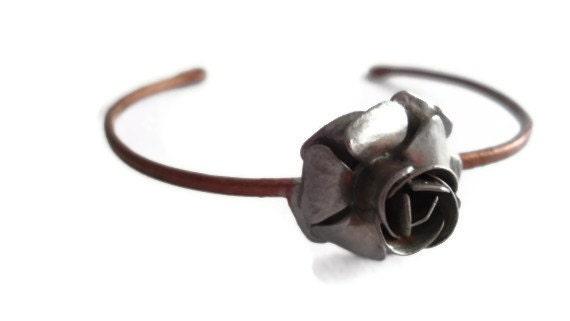 Silver Painted, Rose Bud Bracelet - SimoneSutcliffe