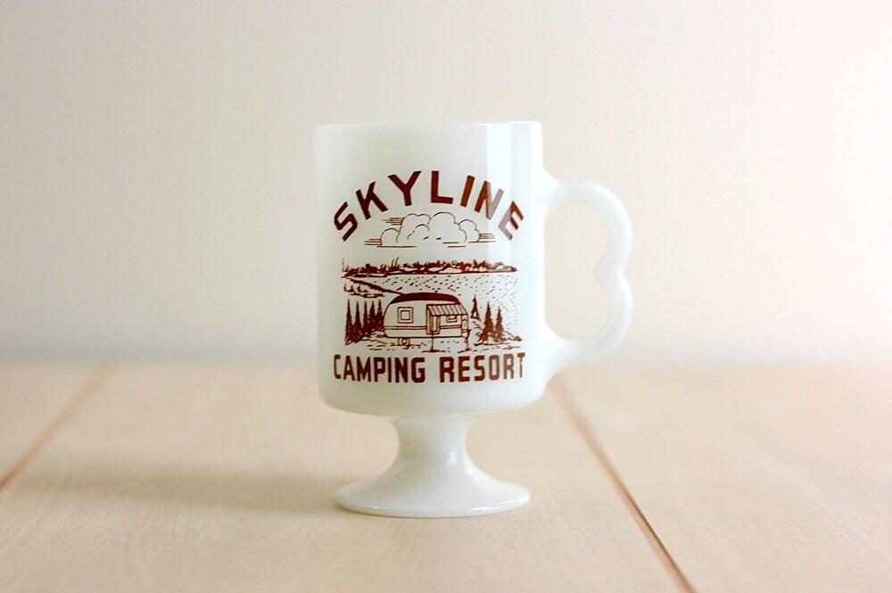 Vintage Skyline Camping Resort Milk Glass Mug - WiseApple