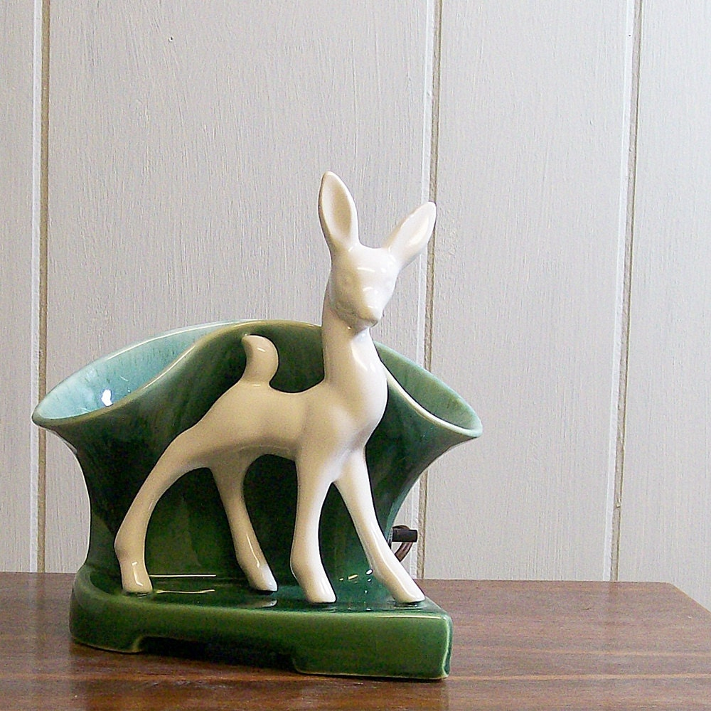 Vintage Ceramic Tv Lamp Deer And Planter By