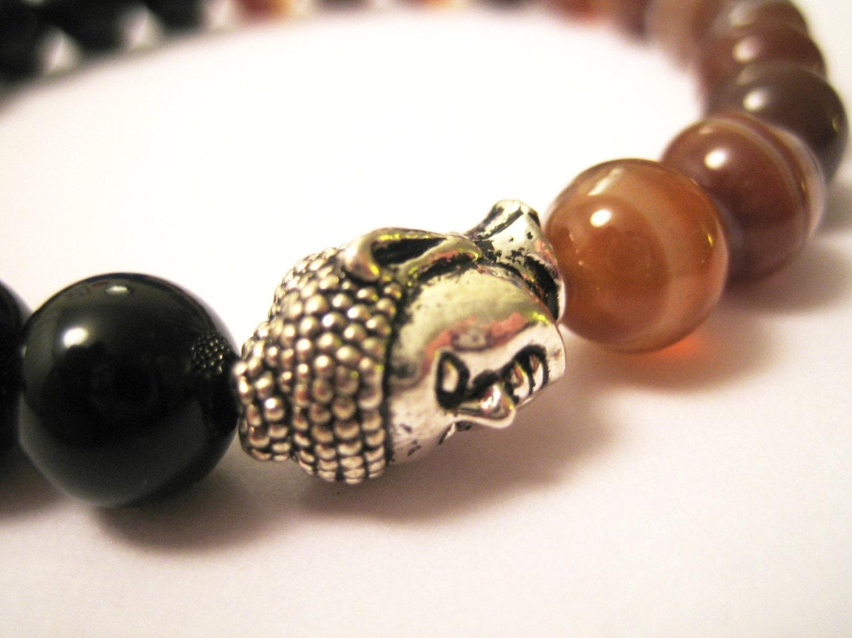 Mens stretchy yoga meditation bracelet Madagascan agate black agate bracelet birthday gift for him brown white stripey bracelet boho look