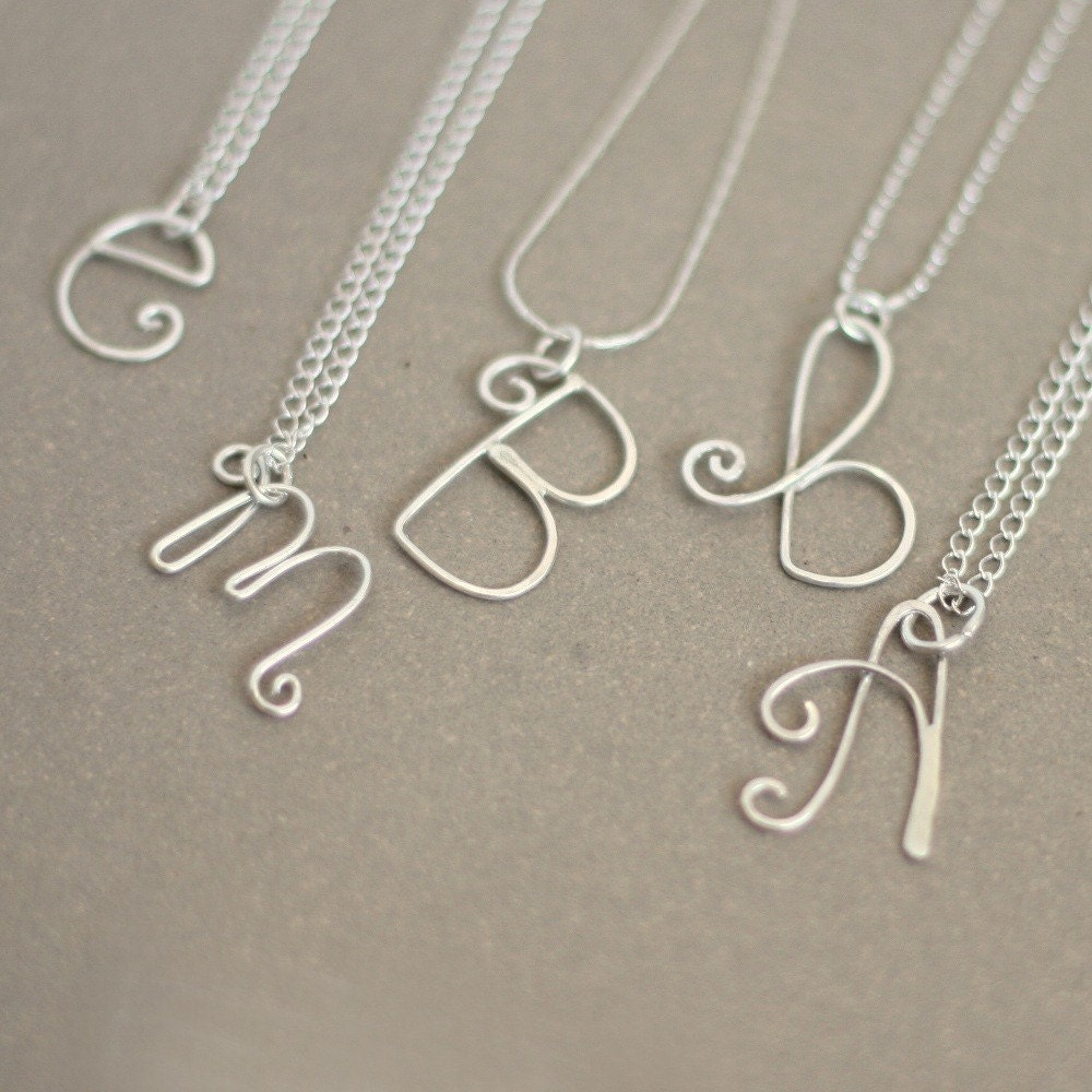 initial necklace. personalized initial in sterling silver. bridesmaid or friend gift.  mothers initial necklace. gift for her.  a-z letters.