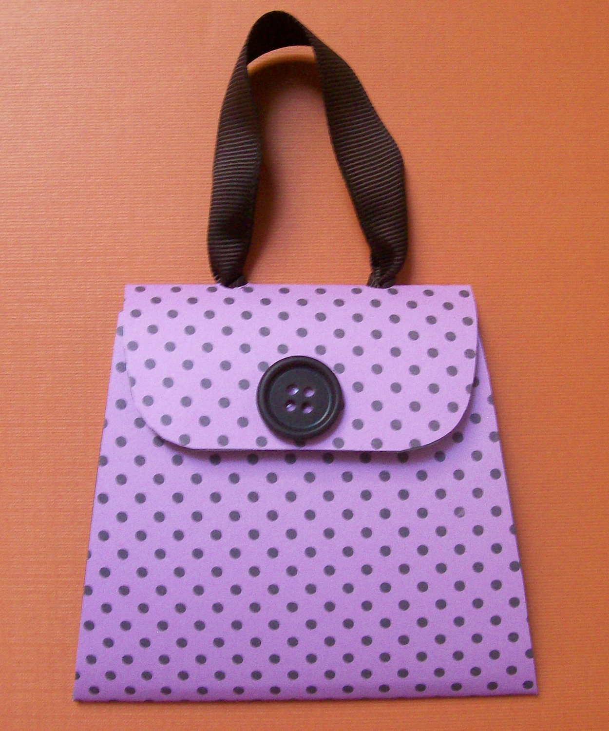 Pink with Brown Polka Dots Mini Purse Post It Note Holder