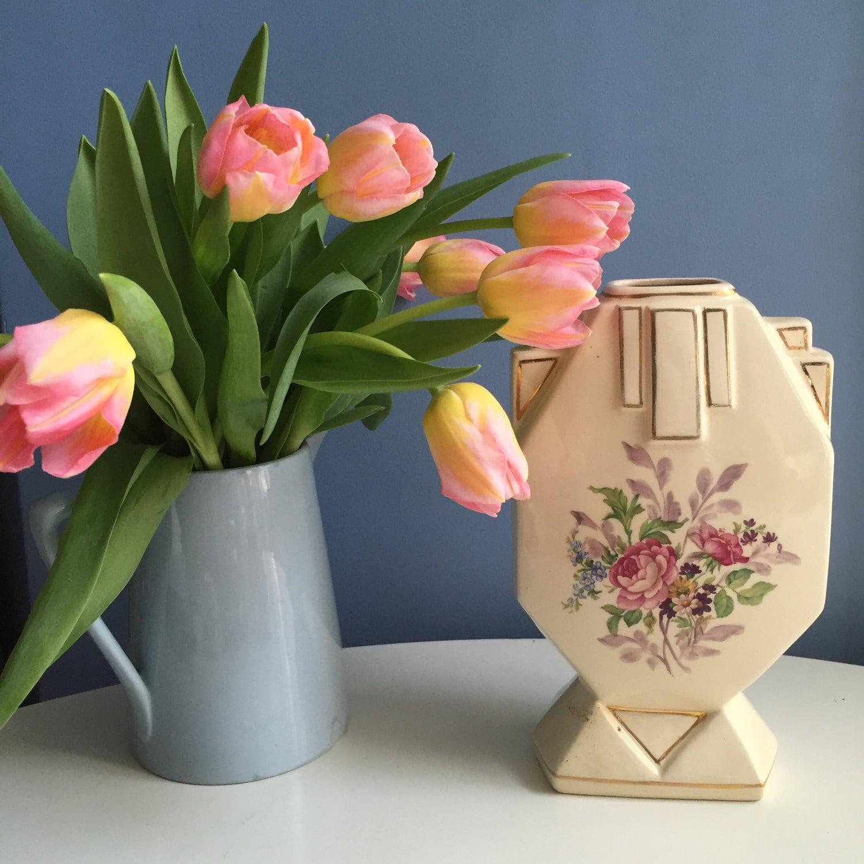 Art Deco Ceramic Vase by Louis Gueule L. G. Elg France. Home Decor. Floral Motif. 1920s French Ceramics