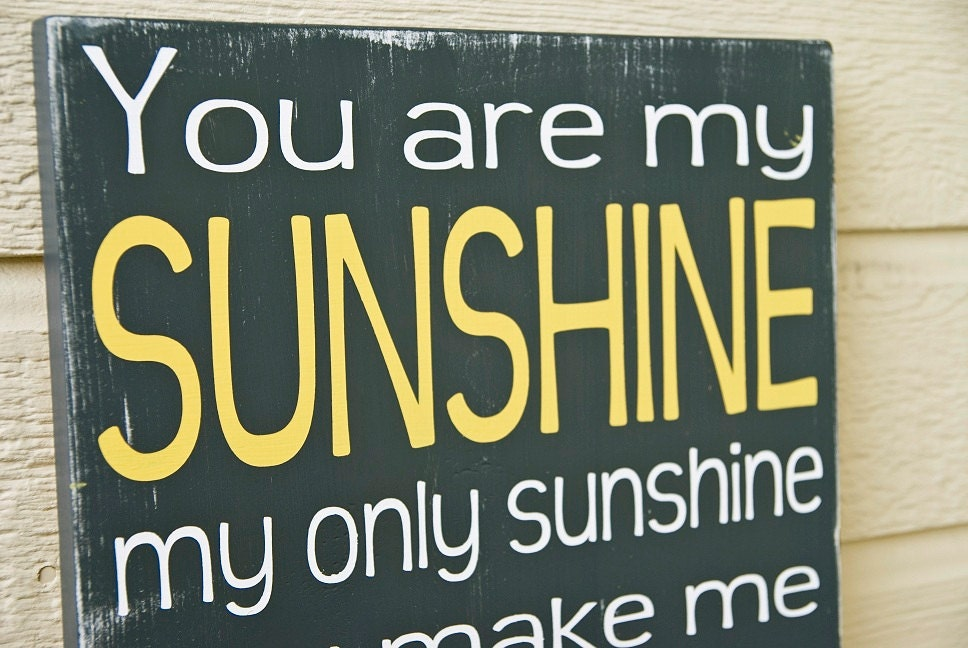 You Are My Sunshine Sign - Distressed -Sunshine Sign - Charcoal and Yellow - Typography Art