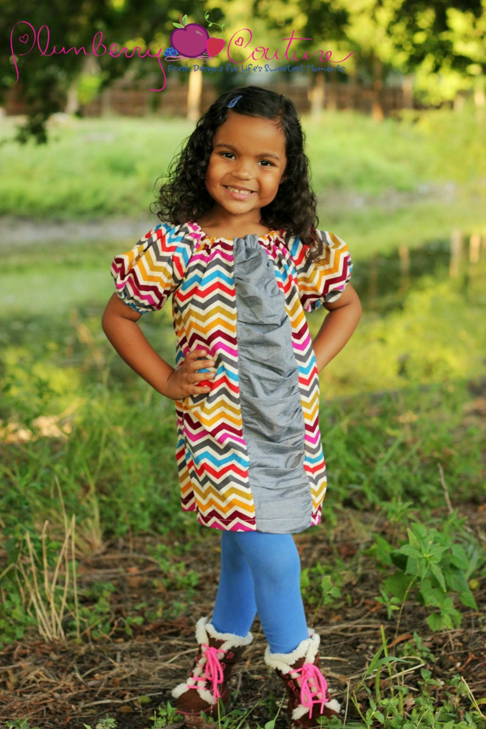 "Girl's Corduroy Chevron Peasant Dress with Contrast Chambray Ruched Panel 6mo-12- ""Kinsleigh"" - PlumberryCouture"