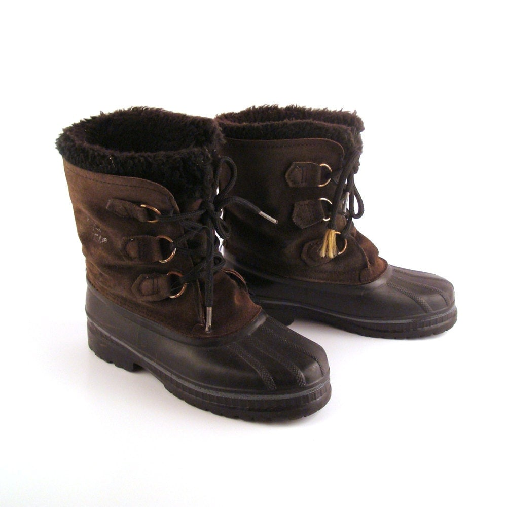 sorel snow boots vintage winter black and by purevintageclothing. Black Bedroom Furniture Sets. Home Design Ideas