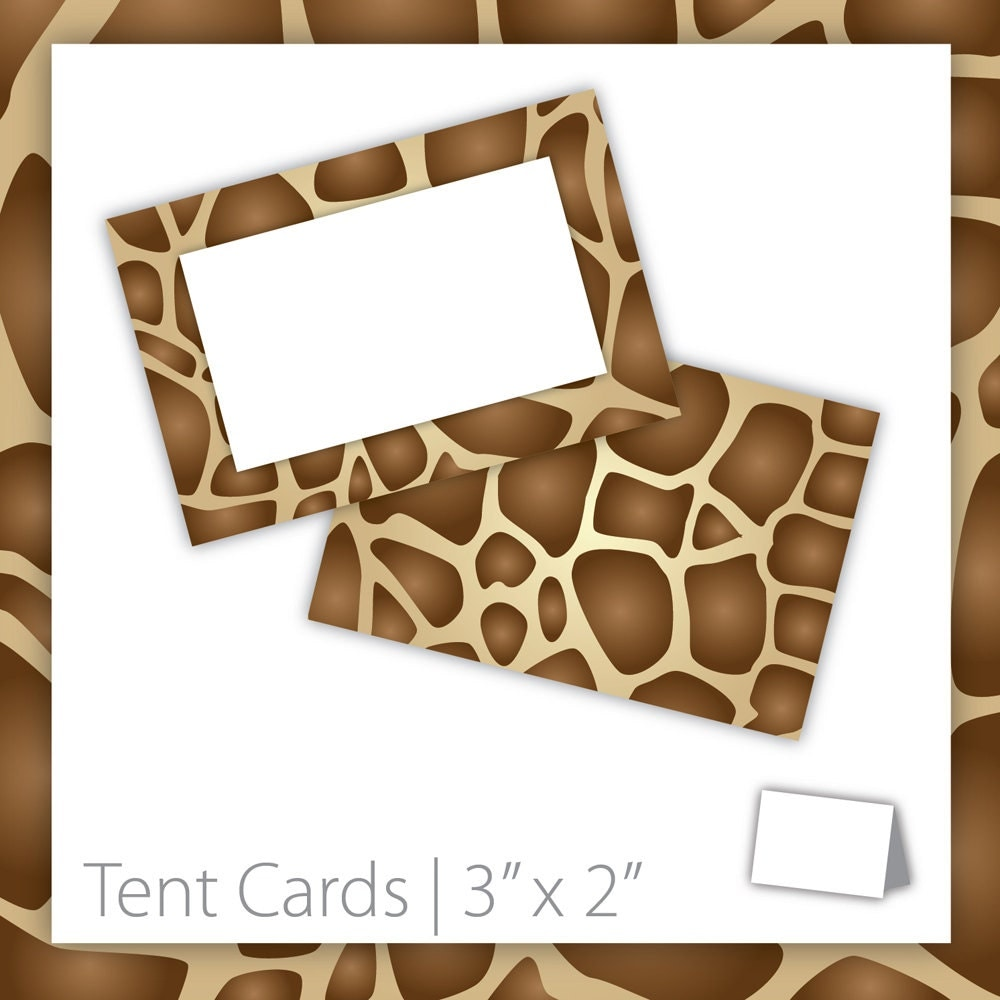 Animal print tent cards blank by blackcherryprintable on etsy for Printable tent card