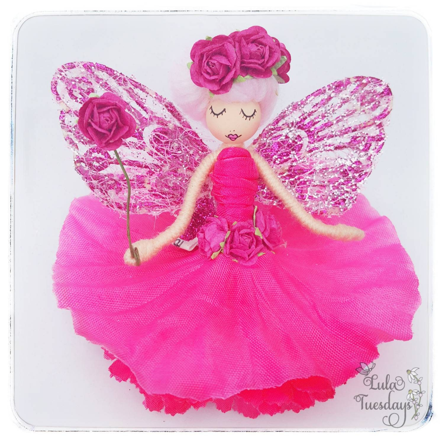 Rosa  fairy  fairies  flower fairys  fairy doll  angel doll  spiritual doll  flower fairy doll  pink fairy  hanging fairy  fae