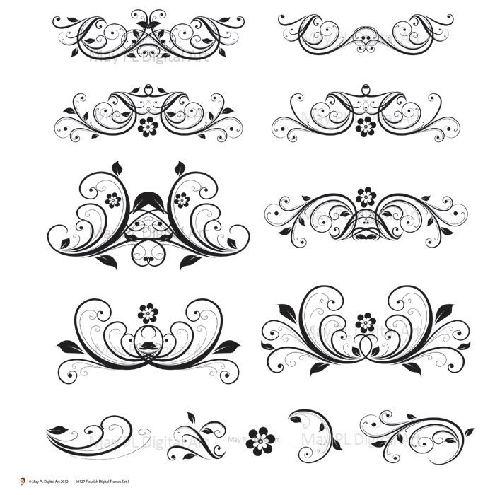 Digital Clipart Flourish Clip Art Swirls Vintage Flower DIY Wedding