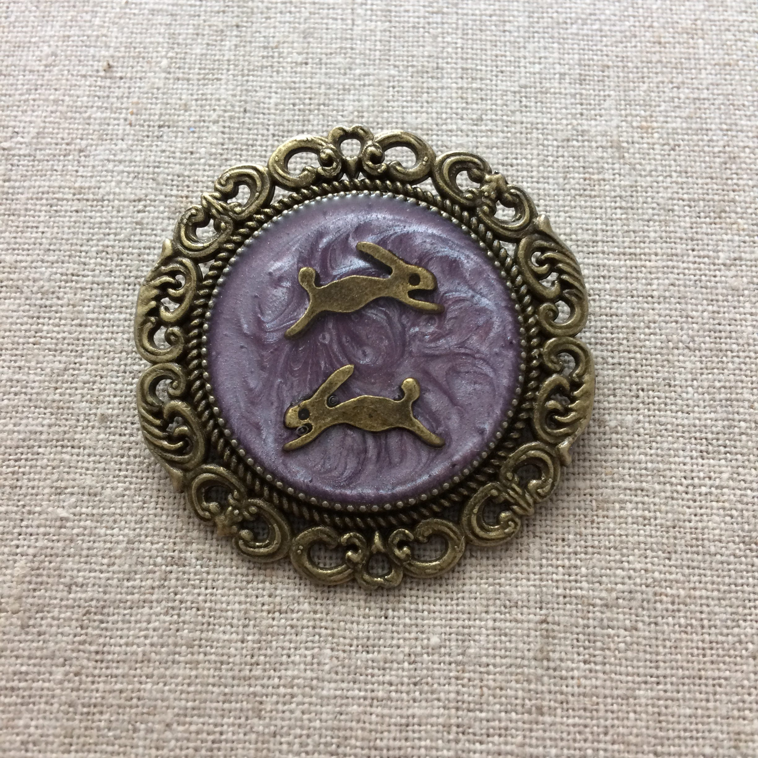 Leaping Hare Brooch  Antique Bronze  Purple  Lilac  Round Brooch  Resin Brooch
