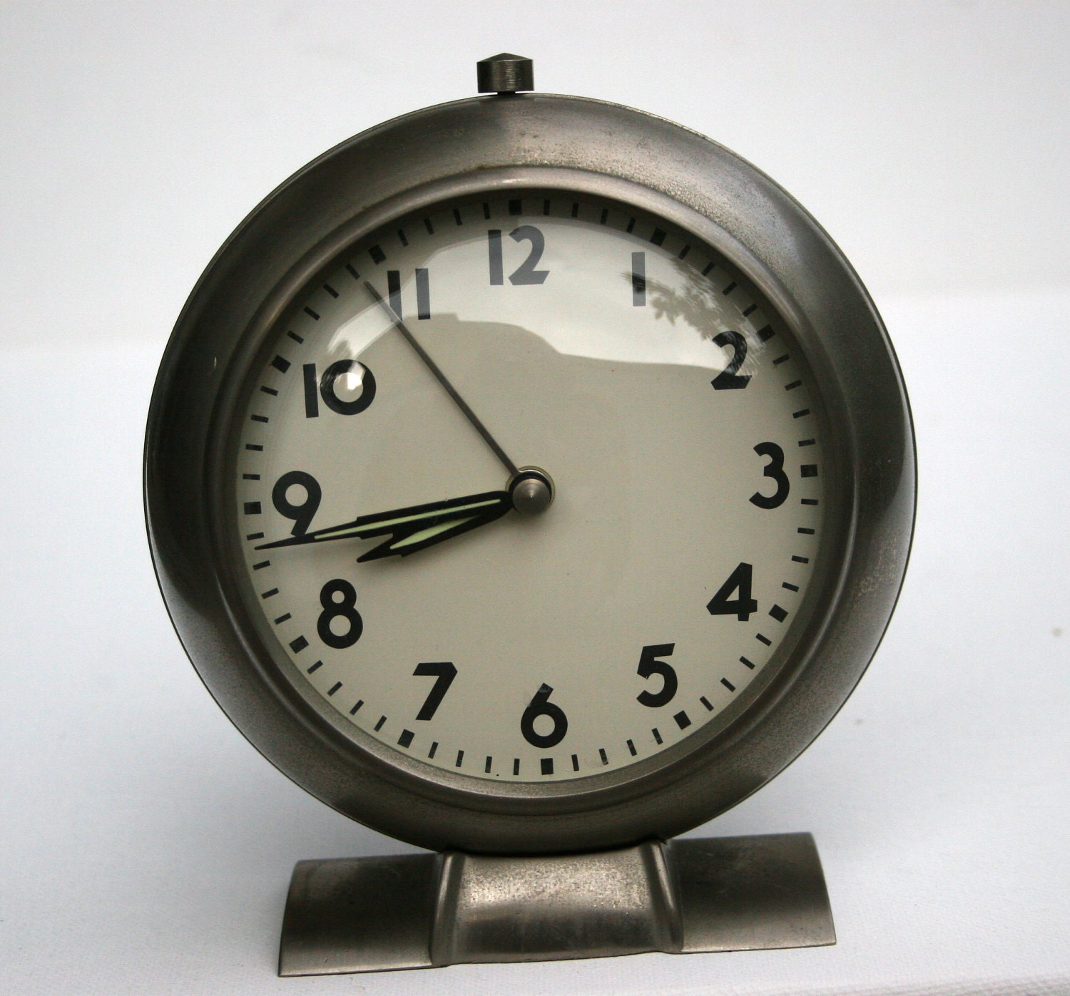 Vintage Silver Bedside Analog Clock With Arms By