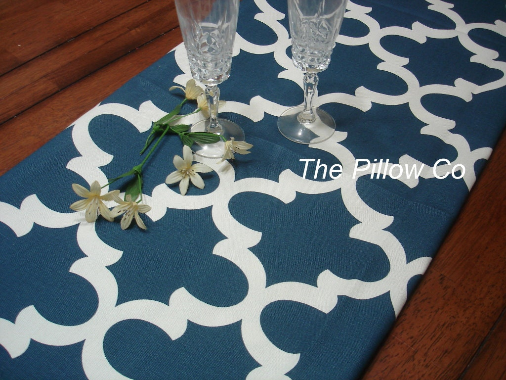 Blue table runner party table runner blue wedding by for Table runners 52 inches