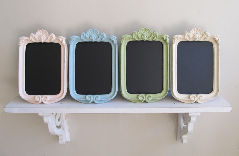 FRAMED CHALKBOARD Shabby Chic Nursery Pastel Chalk Board Wedding Table Numbers Picture Frame Vintage Style Kitchen Chalkboard - SET of 12
