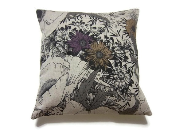 Purple And Gray Decorative Pillows : Items similar to Decorative Pillow Cover Purple Gray Linen Black Taupe Modern Floral Accent Toss ...