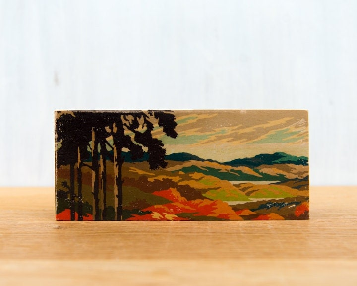 Paint by Number Mini artblock, tree silhouette landscape, fall, vintage