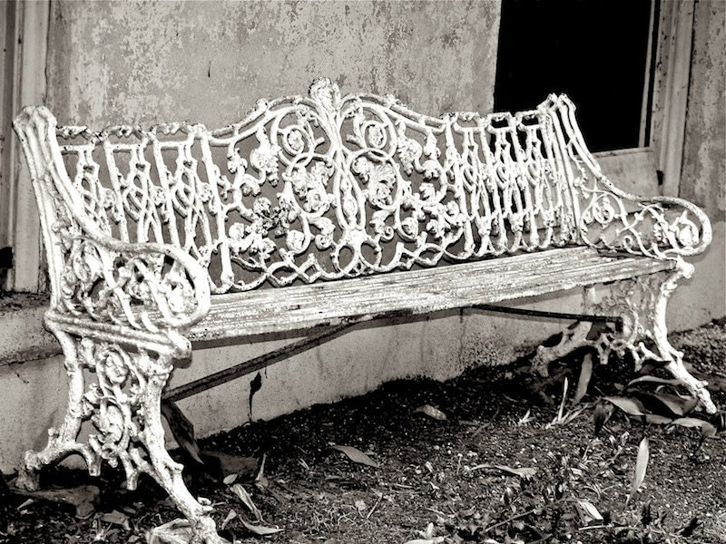 Black and White Photography, Old Bench, Garden Photography, Still Life, Rustic, Cottage, Shabby Chic, Art Print - StudioSwede13