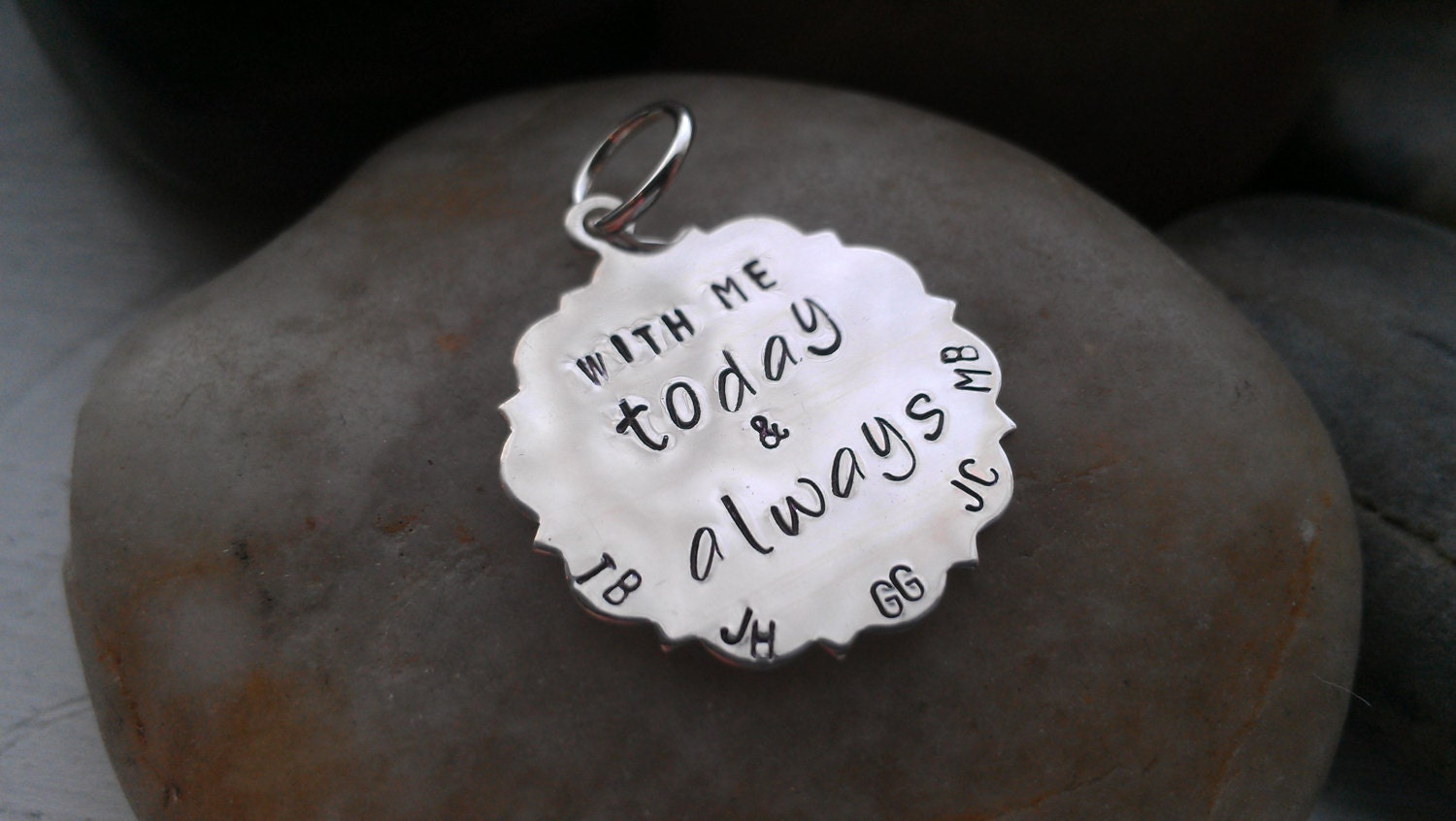 Bridal bouquet memorial  hand stamped sterling silver charm