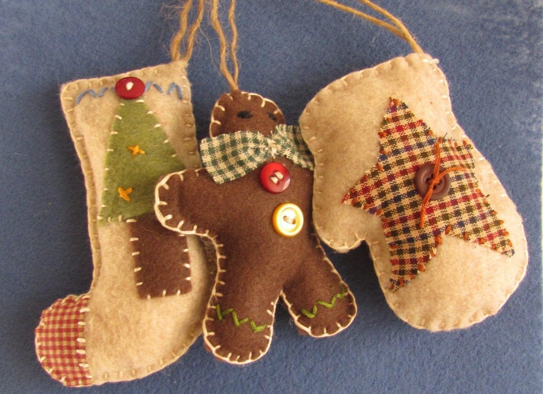Страна Рождества войлока и ткани Set - Учет, Mitten и Gingerbreadman-Бесплатная доставка
