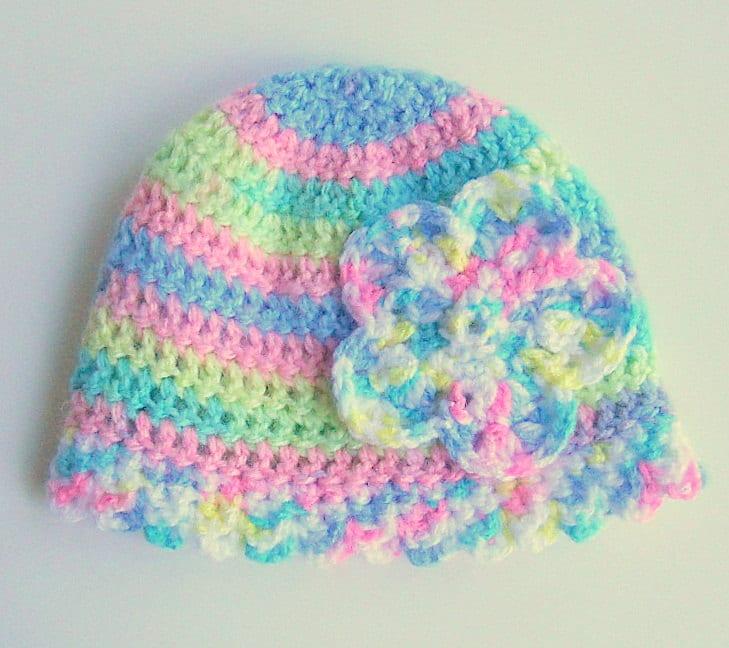 Girl Flower Hat  Baby  Cap Infant Pastel Beanie Fall Cloche Children Winter Clothing 6 - 12 Months Rainbow Green Yellow Purple Blue Pink - BundleOfJoyShop