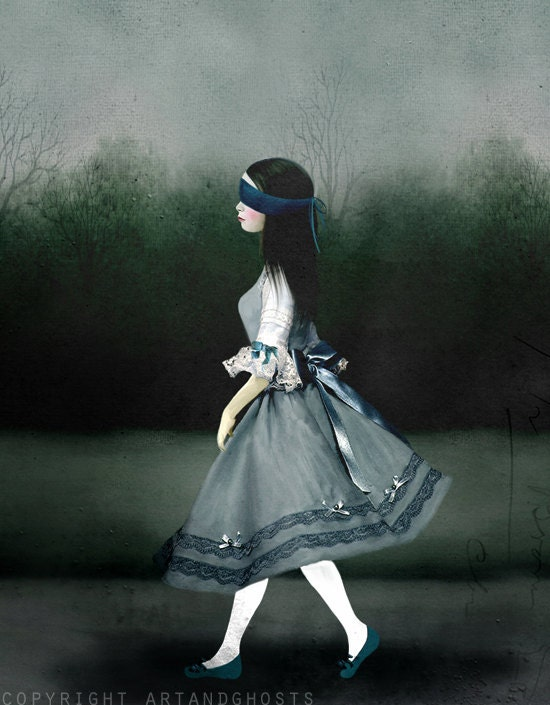 In The Gloaming Suki Walks - Digital Mixed Media Art Print 10x8 - littleghost