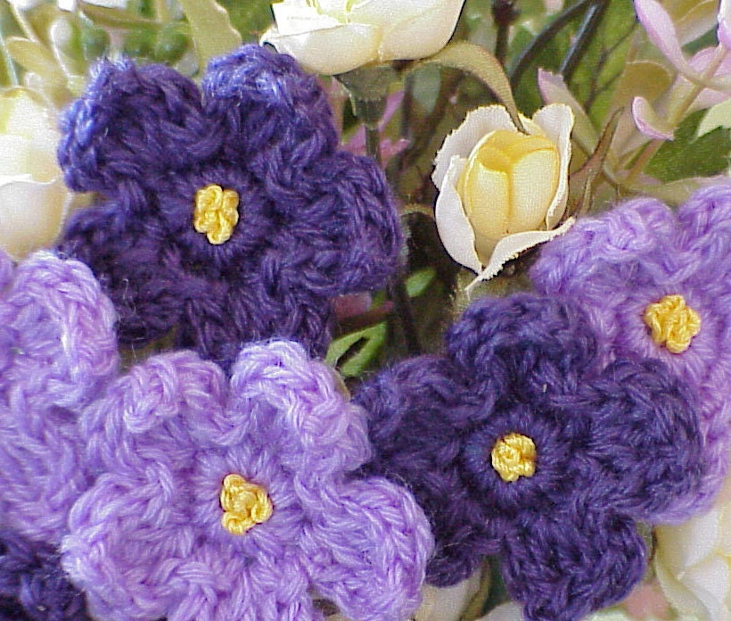 Crochet Violet Flower Pattern : Items similar to Flower Arrangement, Crochet Violets ...