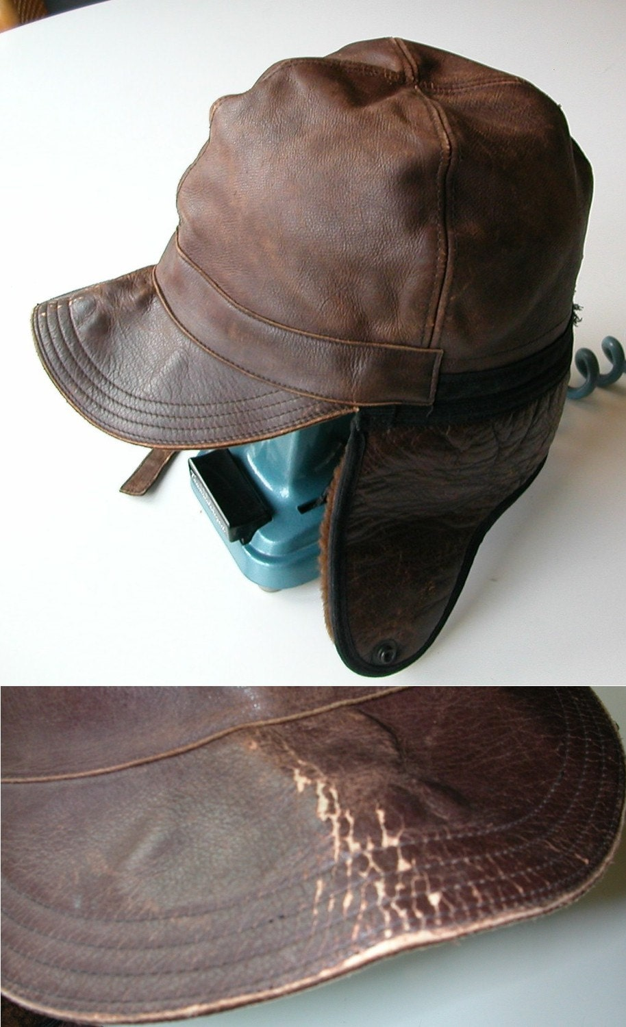 1930s l l bean distressed leather and shearling hat by