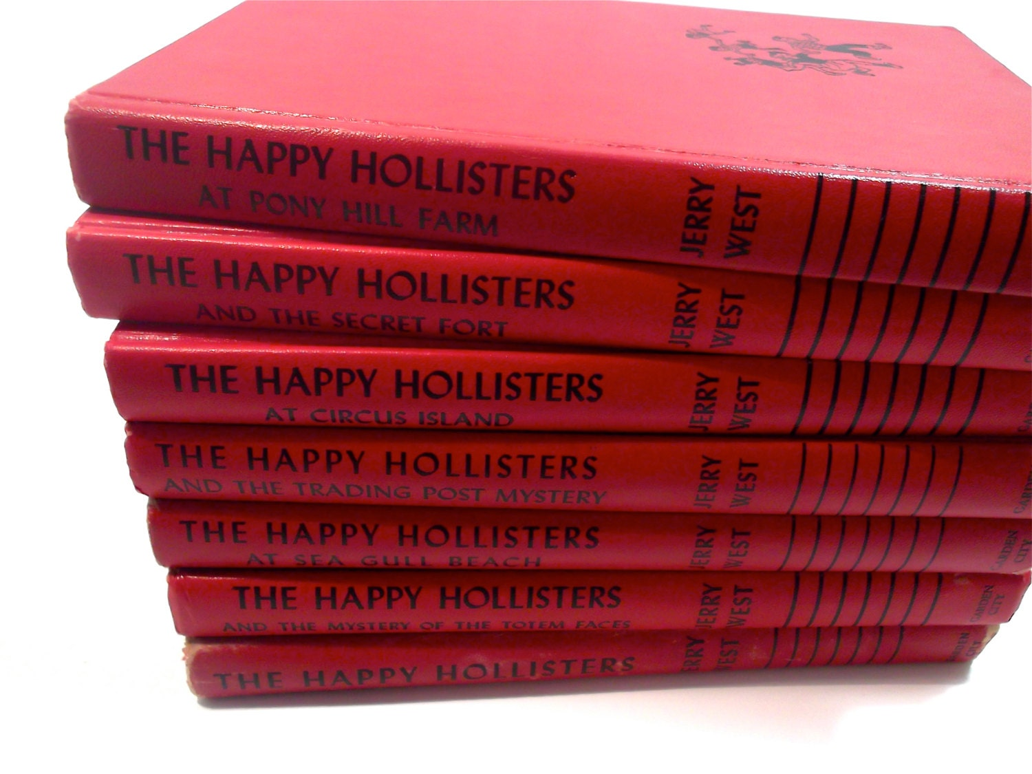 1950s 'The Happy Hollisters' Adventure Series by Jerry West Illustrations by Helen S. Hamilton. Set of 7 Red Books. Book Decor. - PacificBlueBooks