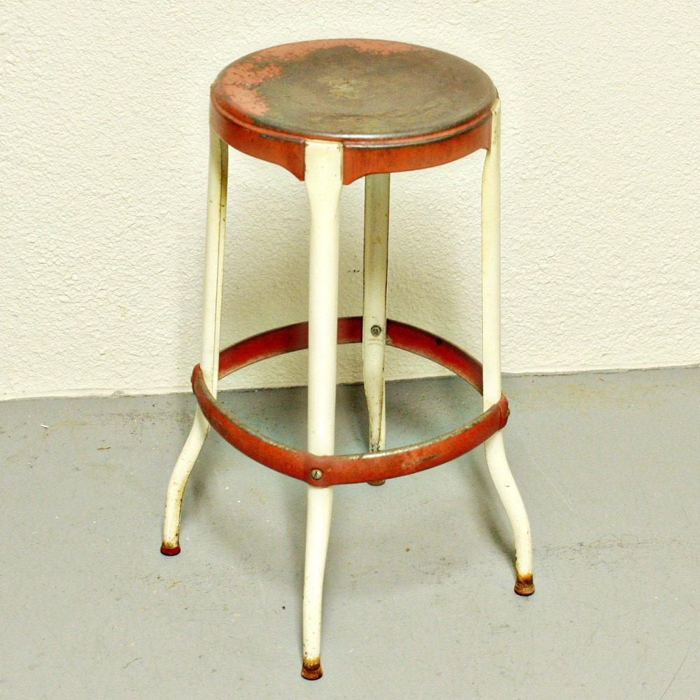 Cosco Chippy Red Metal Kitchen Cart Movable Painted Vintage: Vintage Stool Kitchen Stool Chair Red And By OldCottonwood