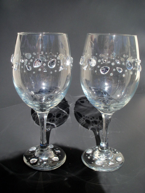 Items Similar To Set Of 2 Rhinestone And Glitter Wine