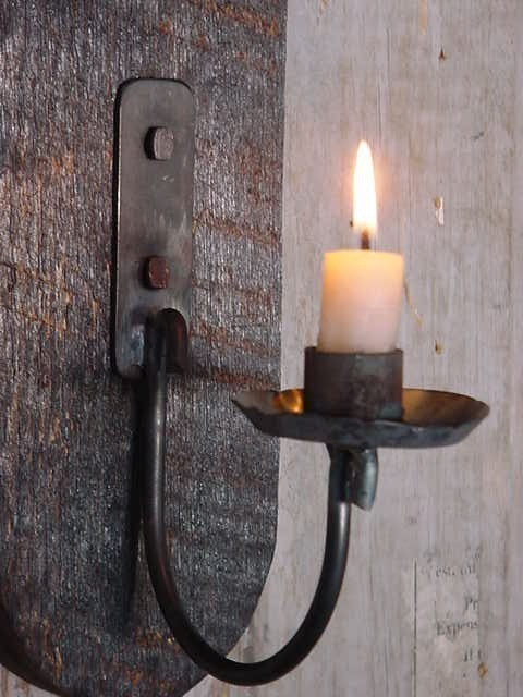 Rustic Style Wall Lights : Wall Lighting Candle Sconce Primitive Early by baconsquarefarm