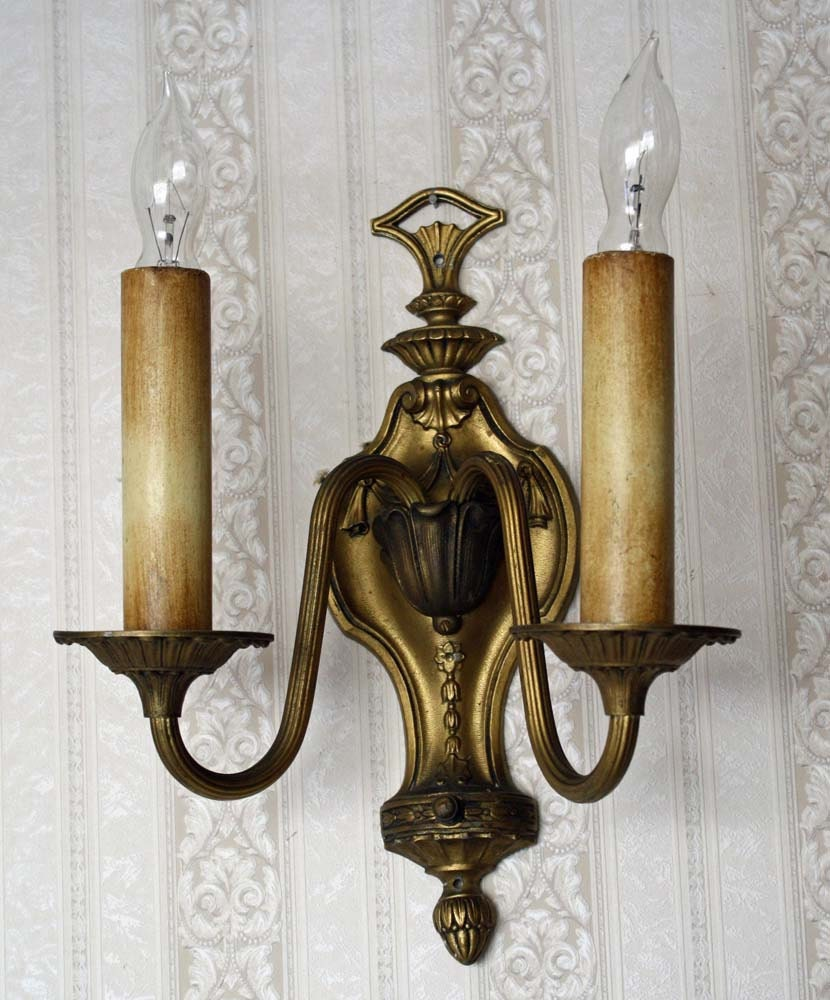 Decorative Electric Wall Sconces : Wall Mount Lamp or Sconce with 2 Electric by Cottonridgevintage