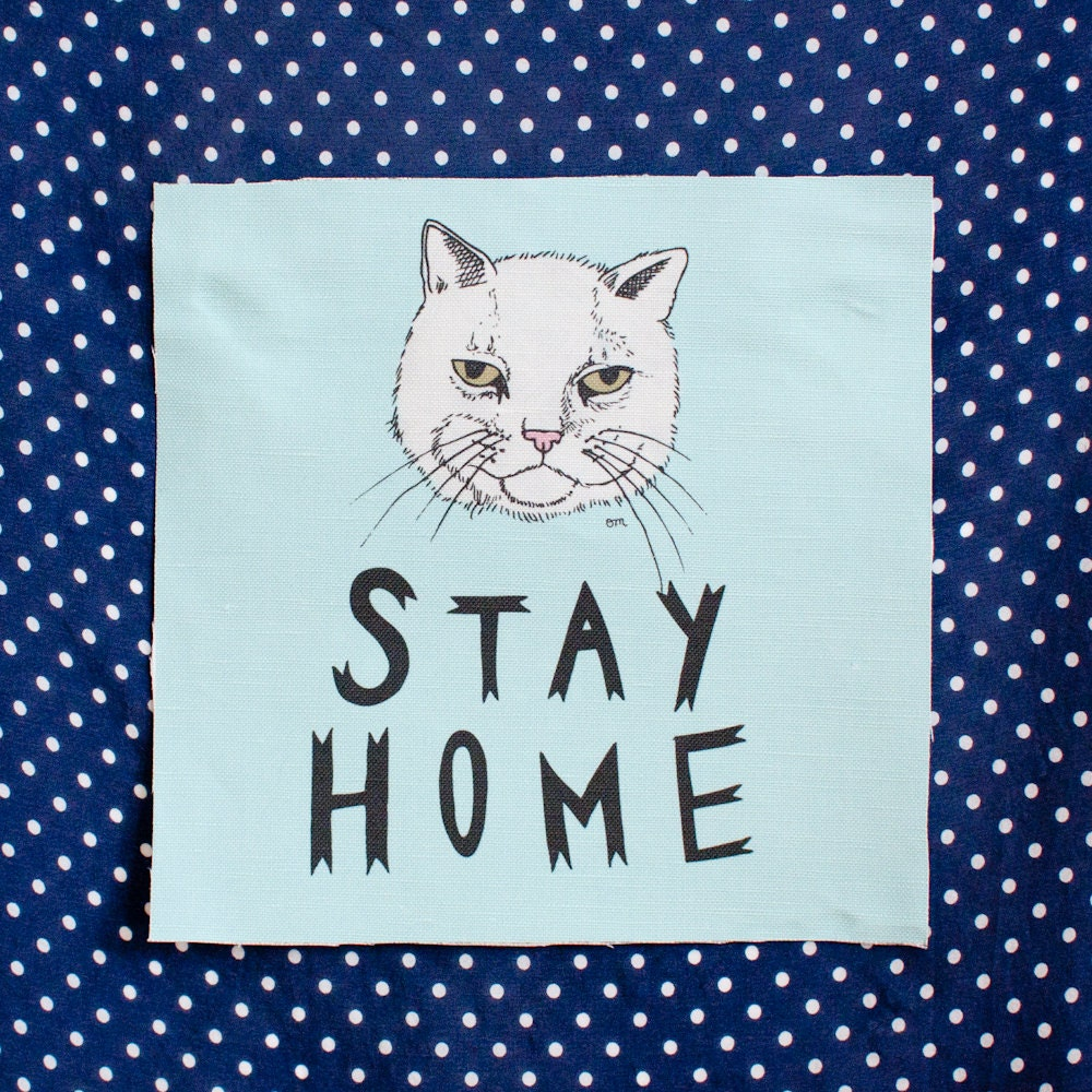 "printed canvas patch - stay home - 7"" x 7"""