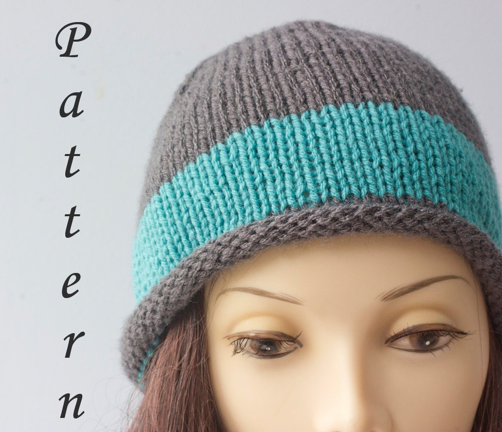 Knit Pattern Beanie With Brim : Hat Knitting Pattern Rolled Brim Knit Hat PDF by beadedwire