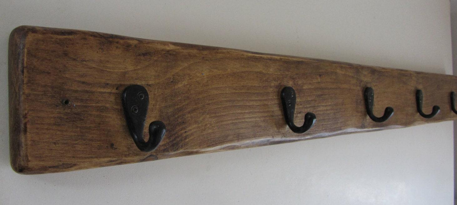 99 cm Solid Reclaimed Plank wood 5 hook black cast iron coat hooks  robe hooks  kitchen cup hooks