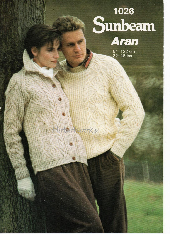 Womens Aran Cardigan Mens Aran Cardigan Aran Jacket Aran Sweater Aran Jumper Aran Knitting Pattern 3248 inch Unisex Knitting Pattern PDF