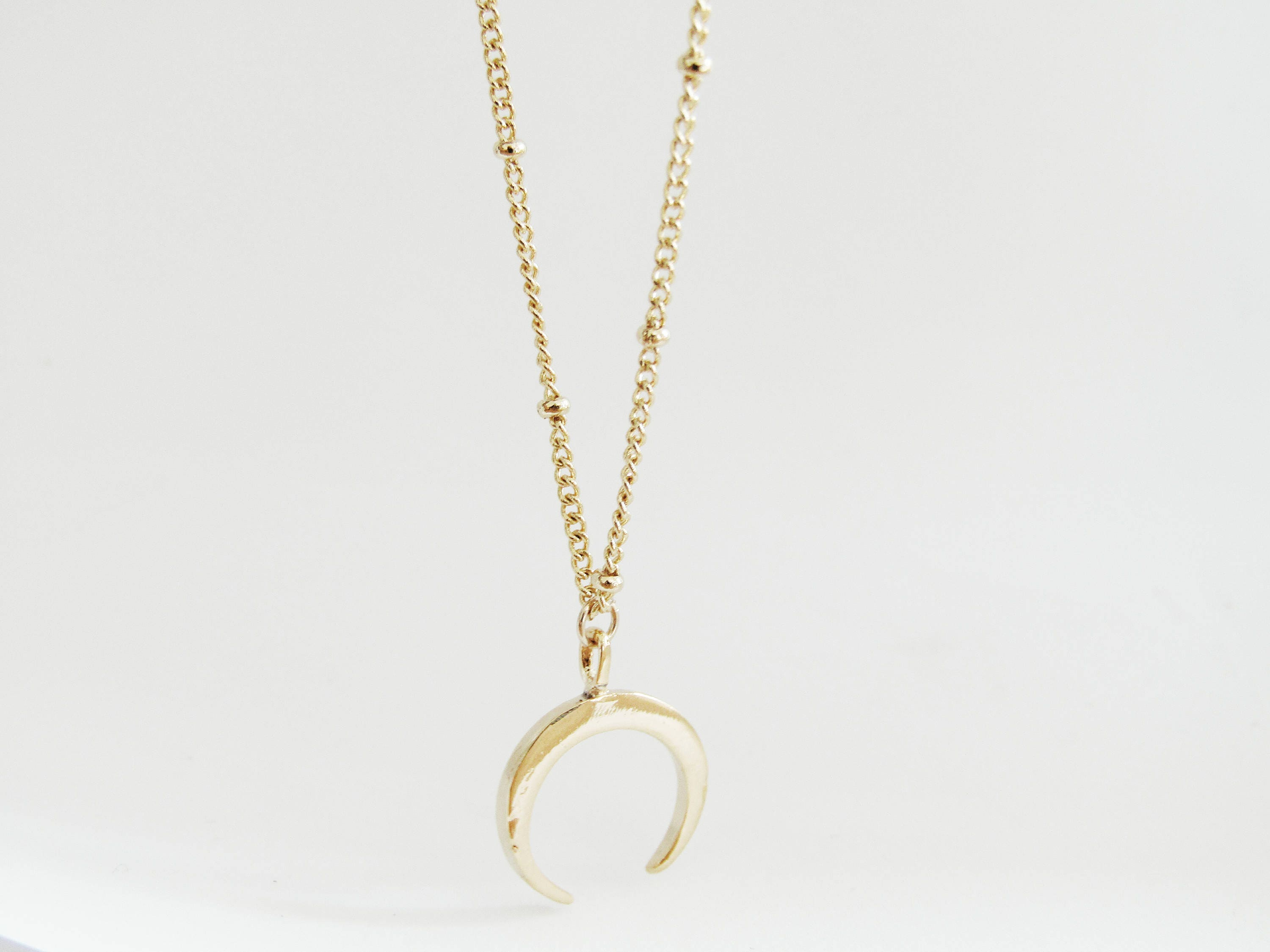 Mini Gold Horn Necklace tusk necklace double horn necklace crescent necklace moon necklace