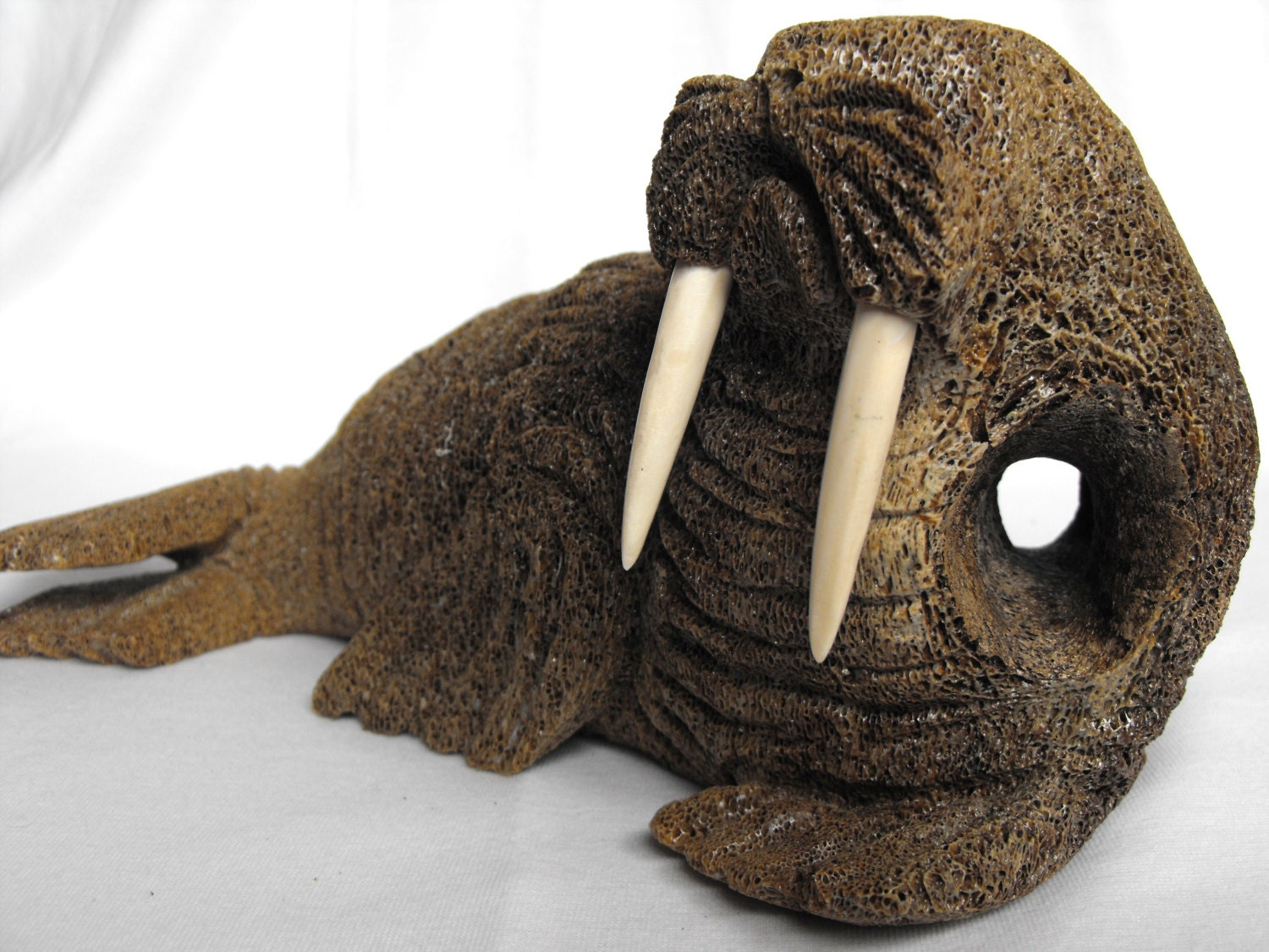 Fossilized whale bone carved walrus by deesweetnostalgia