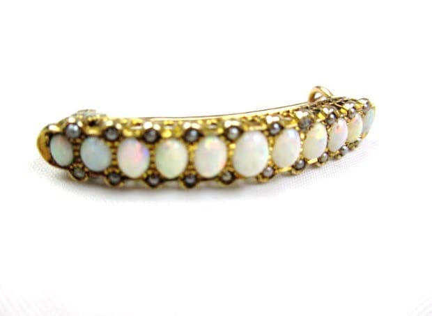 Opal Brooch Victorian Brooch 9K Gold Black Seed Pearl Brooch Antique Jewelry SPRING SALE