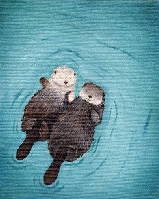 Otters Holding Hands Cute Otter Art print 8x10 - WhenGuineaPigsFly