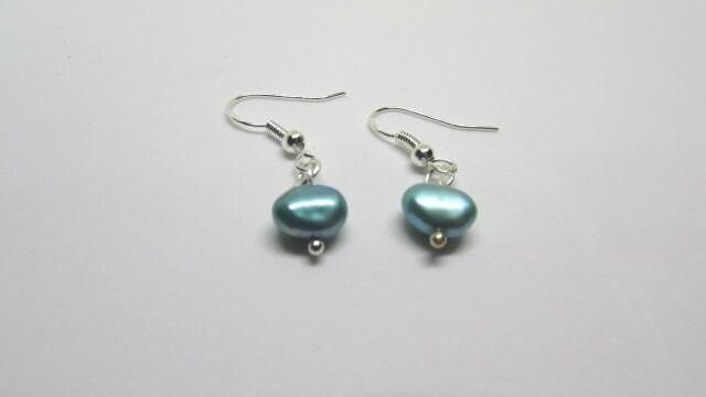 Blue Pearl Earrings Mermaid Earrings Sterling Silver Earrings Birthstone Jewelry Drop Earrings June Birthstone