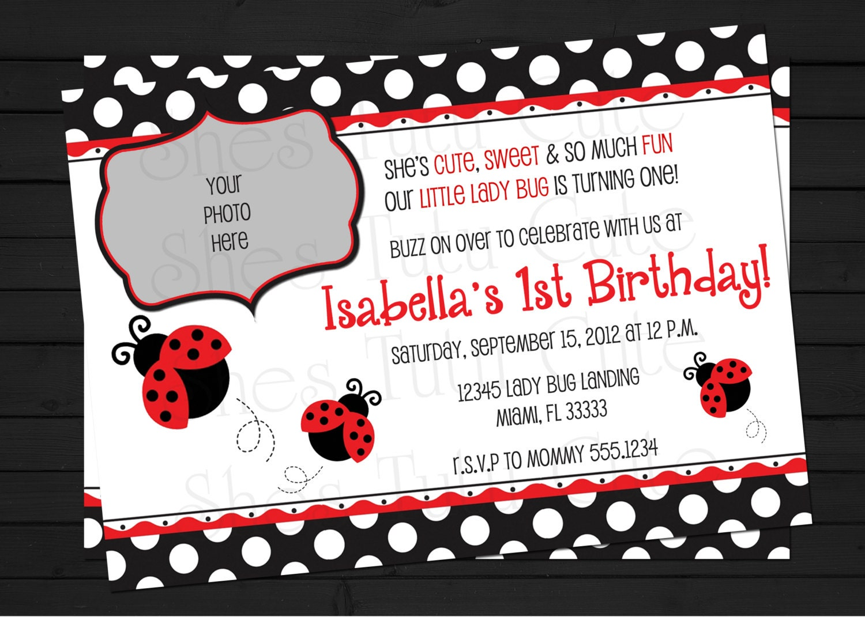 Handmade Ladybug Birthday Invitations. Red Ladybug Polka Dot Custom ...