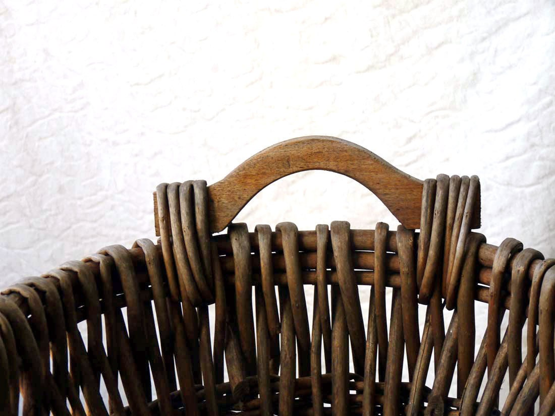 Rustic Basket with wooden handles, cabin decor - ProfessorTiny