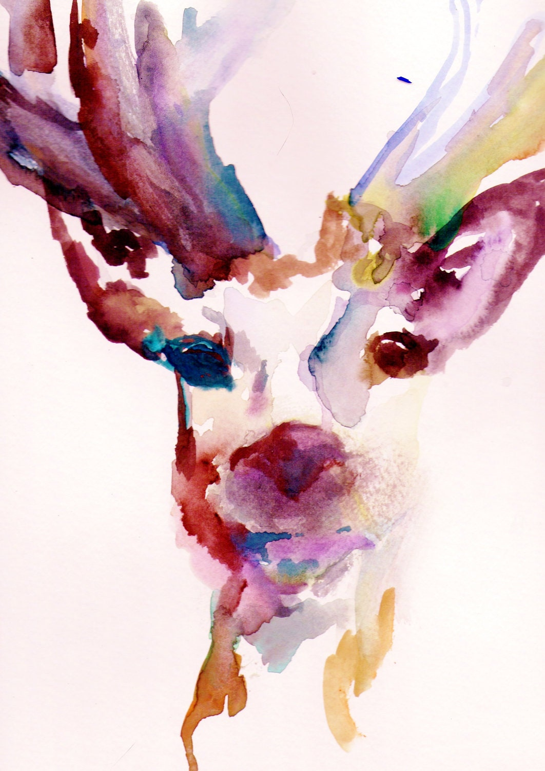"Print of Original Watercolor Painting, Titled: ""Deer"" by Jessica Buhman 11 x 14 Pink Purple Yellow Blue Brown Black Reindeer"